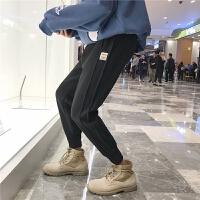 新品文艺 冬季裤子男韩版休闲裤加绒男士运动裤长裤修身小