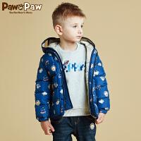 【3件2折 到手价:300】Pawinpaw宝英宝卡通小熊童装冬款男童保暖眼镜连帽羽绒服儿童外套