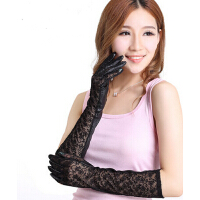 新款全触屏韩版长款修手薄款真皮手套蕾丝