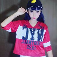 春装英文字母图案印花韩版宽松短袖T恤棒球服学生上衣潮