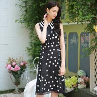 夏装新品亮片娃娃领无袖波点雪纺裙连衣裙D724182L30