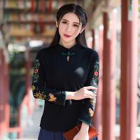 实拍夏装新款九分袖盘扣T恤 复古中国民族风立领 刺绣 上衣女