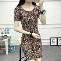 短袖女T恤夏装 中长款韩版修身显瘦大码女士打底衫上衣豹纹圆领潮