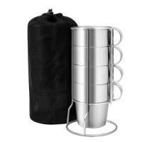 户外餐具套装 不锈钢双层杯4件套杯炊具套装野餐用品 不锈钢4件套杯-不锈钢手柄-含网布