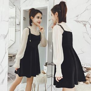 哆哆何伊2018新款女装春装韩版chic长袖A字丝绒背带裙套装连衣裙两件套女