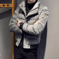 韩版修身立领外套潮冬季金丝绒男士短款休闲棉衣