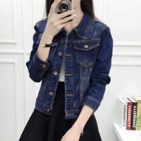 牛仔外套女春秋季学生韩版bf风短款长袖休闲外套女士开衫显瘦上衣 深蓝色