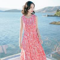 夏季新品女装修身无袖雪纺长裙连衣裙波西米亚海边度假沙滩裙 图片色X618