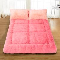 秋冬加厚长绒毛榻榻米床垫1.5m床宿舍可折叠褥子懒人地铺垫 玫瑰恋人 深粉