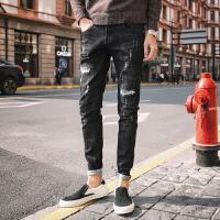 2018男士韩版修身长裤潮流裤子直筒休闲小脚裤冬季加绒牛仔裤