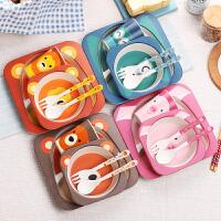 野炊烧烤竹纤维儿童防摔餐具吃饭餐盘分隔格婴儿饭碗宝宝辅食碗叉勺子套装