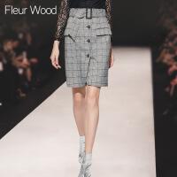 FLEUR WOOD2017秋季新款女装通勤OL修身包臀格子开叉半身裙短裙