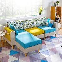 亿家达布艺沙发组合 客厅整装沙发小户型简易L型现代简约懒人沙发多人位