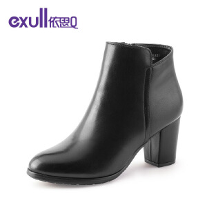 依思q冬季新款圆头粗跟高跟短靴侧拉链纯色潮流女靴