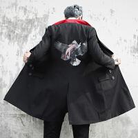 新款秋装潮流印花中长款男士西服韩版时尚双排扣修身青年小西装外