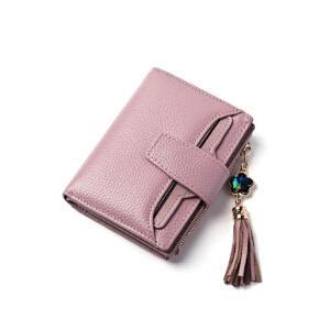 头层牛皮女包钱包女短款2018新款皮多卡位多功能卡包钱夹  Q