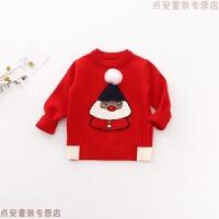 女童毛衣洋气大红圣诞儿童套头针织衫2019新款婴儿宝宝打底衫线衣 红色 5码 参考身高73-80cm