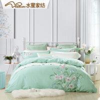 水星家纺绣花四件套全棉纯棉被套床上用品四件套百合含香春季新品