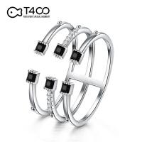T400琴键S925银开口戒戒指双色可选网红韩版简约个性送女友生日礼物
