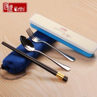 旅行学生筷子勺子叉子套装便携式餐具三件套 携带餐具盒 便携餐具