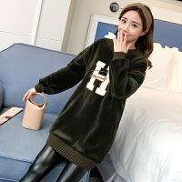 韩版秋冬新款孕妇装显瘦银狐绒刺绣字母加绒卫衣