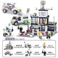 兼容乐高开智积木拼装警察局系列玩具城市汽车6男孩子8警车10岁12