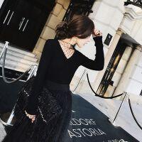 毛衣女士春夏黑色半高领蕾丝拼接网纱短款修身针织打底衫V领女 黑色