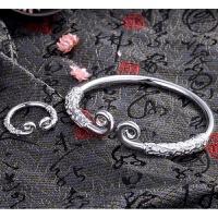 复古浮雕紧箍咒手镯手环男女情侣一对 纯银色浮雕款 送戒指