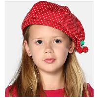 时尚儿童贝雷帽 女童帽子樱桃帽儿童冬帽可爱宝宝帽子 适合5-7岁