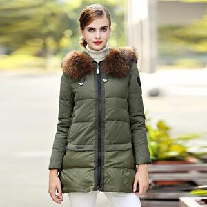 雅鹿羽绒服女中长款 大貉子毛领冬装韩版修身外套YQ1101210
