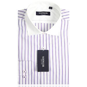YOUNGOR雅戈尔 男装 都市休闲 高支全棉 白底紫色条纹 异色领 长袖衬衫  PM18753-32T