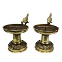 铜鸟类烛台黄铜蜡台家居装饰吉祥如意摆件 铜烛台礼佛用品 烛台一对