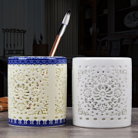 景德镇陶瓷器仿古镂空青花瓷笔筒花瓶插办公室书房中式装饰品礼品