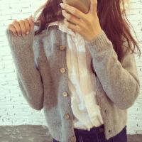 秋装新款女装针织衫开衫韩版宽松外搭毛衣秋冬女士短款上衣外套厚