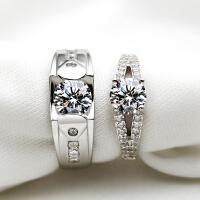 纯银情侣婚戒仿真钻戒S925生日铂金男女结婚戒指对戒一对一生一世