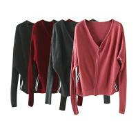 秋季新女装 韩国站纯色竖条拉链开衫毛衣长袖针织衫女