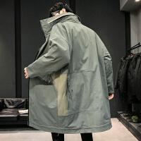 羽绒服男潮中长款潮流帅气韩版大衣男派克服冬季新款工装宽外套