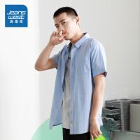 [到手价:69.9元】真维斯男装 春装新款 休闲纯棉米通纯色韩版时尚短袖衬衫男