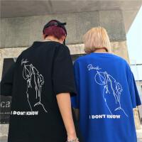 韩国INS同款复古风线条手指印花短袖T恤 男女款