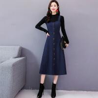 毛呢连衣裙女2018秋冬新款韩版气质中长款冬季加厚套装裙子两件套