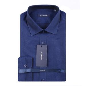 Youngor/雅戈尔男士商务秋季新款藏蓝纯棉免烫长袖衬衫DP16224HBA