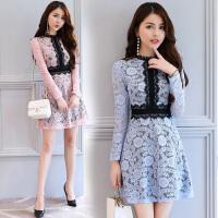 春秋连衣裙长袖女新款修身显瘦蕾丝气质时尚百搭秋季女装裙子