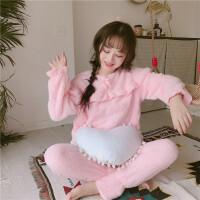 粉色睡衣女秋冬甜美日系珊瑚绒家居服学生宿舍休息套装时尚新