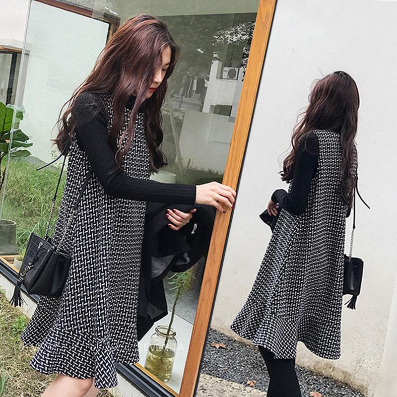 孕妇裙子秋冬外穿韩版中长款格子背心两件套打底孕妇连衣裙鱼尾裙