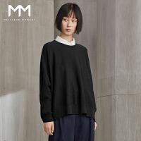 MM麦檬2017秋冬新款韩版羊毛衫纯色圆领蝙蝠袖针织毛衣女