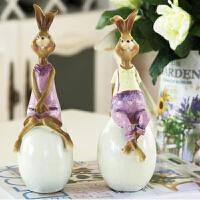 树脂兔子娃娃摆件田园风装饰礼品树脂摆件结婚礼物 兔子摆设
