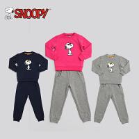 snoopy/史努比童装2017冬装男女儿童加绒卫衣套装套头保暖绒衫