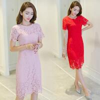 蕾丝连衣裙女夏新款韩版时尚收腰显瘦中长款红色夏季修身裙子