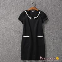2015原单夏新款气质英伦风撞色拼接宽松短袖纯色显瘦连衣裙