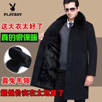 男毛呢子大衣季羊绒大衣中老年加绒加厚爸爸装外套